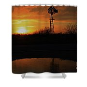 Kansas Blaze Orange Sunset With Windmill And Water Reflection Shower Curtain