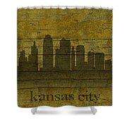 Kansas City Missouri City Skyline Silhouette Distressed On Worn Peeling Wood Shower Curtain