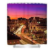 Kansas City Plaza Christmas Lights Skyline Shower Curtain