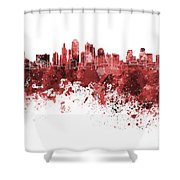 Kansas City Skyline In Red Watercolor On White Background Shower Curtain