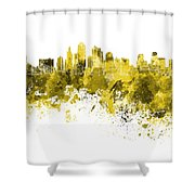 Kansas City Skyline In Yellow Watercolor On White Background Shower Curtain