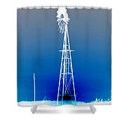 Kansas Country Windmill Inverted Negative Sunset Shower Curtain