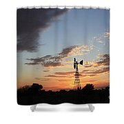 Kansas Golden Sky With A Windmill Shower Curtain