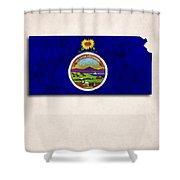Kansas Map Art With Flag Design Shower Curtain