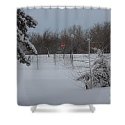 Kansas Snowy Landscape Tree's And Fence Shower Curtain