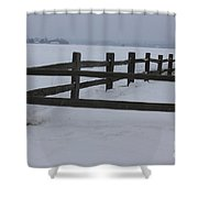 Kansas Snowy Wooden Fence Shower Curtain