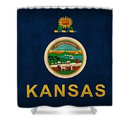 Kansas State Flag Art On Worn Canvas Shower Curtain