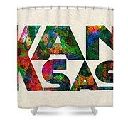 Kansas Typographic Watercolor Map Shower Curtain