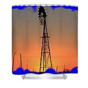 Kansas Windmill Framed Orange Silhouette In Blue Shower Curtain