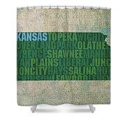 Kansas Word Art State Map On Canvas Shower Curtain