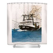 Karis Trawl Fishing Boat Nautical Chart Art Shower Curtain