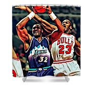 Karl Malone Vs. Michael Jordan Shower Curtain