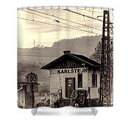 Karlstejn Railroad Shack Shower Curtain by Joan Carroll