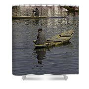 Kashmiri Men Rowing Many Small Wooden Boats In The Waters Of The Dal Lake Shower Curtain