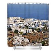 Kastro Village In Sifnos Island Shower Curtain