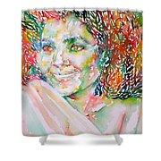 Kathleen Battle - Watercolor Portrait Shower Curtain