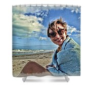 Katie And The Beach Shower Curtain