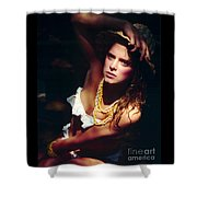 Katie White Hat Shower Curtain