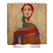 Katniss Everdeen From Hunger Games Jennifer Lawrence Watercolor Portrait On Worn Parchment Shower Curtain