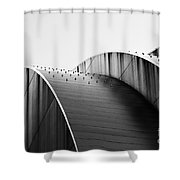 Kauffman Center Black And White Curves Photography Shower Curtain