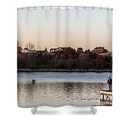 Kayak At Sunset Shower Curtain