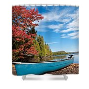 Kayak Boat During Sunny Day  Shower Curtain