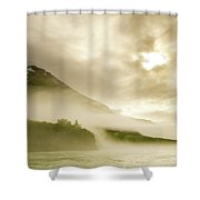 Kayaker And Marine Fog On The Alsek Shower Curtain