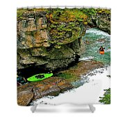 Kayakers In Maligne Canyon In Jasper Np-alberta Shower Curtain