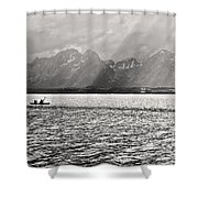 Kayakers On Jackson Lake Shower Curtain