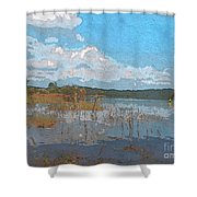 Kayaking At Lake Juliette Shower Curtain