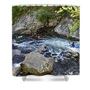 Kayaking Baby Falls Shower Curtain