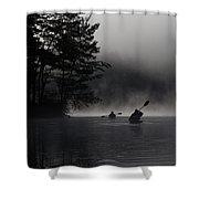 Kayaking In The Fog Shower Curtain