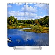 Kayaking The Moose River - Old Forge New York Shower Curtain by David Patterson