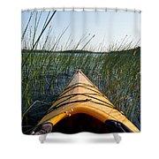 Kayaking Through Reeds Bwca Shower Curtain