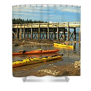 Kayaks By The Pier Shower Curtain