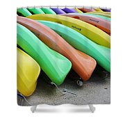 Kayaks In A Row Shower Curtain