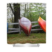 Kayaks On Fence 2 Shower Curtain by Michael Mooney