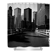 Kayaks On The Chicago River - Black Shower Curtain