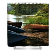 Kayaks On The Shore Shower Curtain