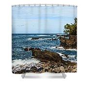 Keanae Coast - The Rugged Volcanic Coast Of The Keanae Peninsula In Maui. Shower Curtain