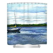 Kellogg's Bay Vt View Of Lake Champlain And Camel's Hump Shower Curtain