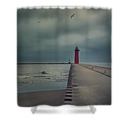 Kenosha North Pier Lighthouse - Dark And Stormy Shower Curtain