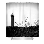 Kenosha North Pier Lighthouse Shower Curtain