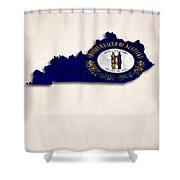 Kentucky Map Art With Flag Design Shower Curtain