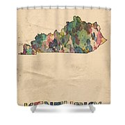 Kentucky Map Vintage Watercolor Shower Curtain