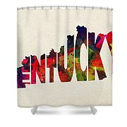 Kentucky Typographic Watercolor Map Shower Curtain