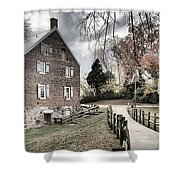 Kerr Grist Mill Stormy Skies Panorama Shower Curtain