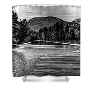 Kettle Black And White Shower Curtain