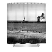 Kewaunee Lighthouse In Bandw Shower Curtain