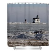 Kewaunee Lighthouse In Winter Shower Curtain